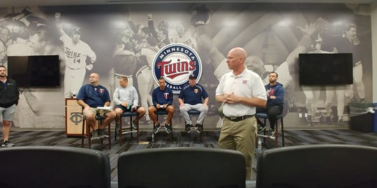 The Minnesota Twins minor league staff  answered questions and held clinics for 27 Cal Ripken coaches recently.