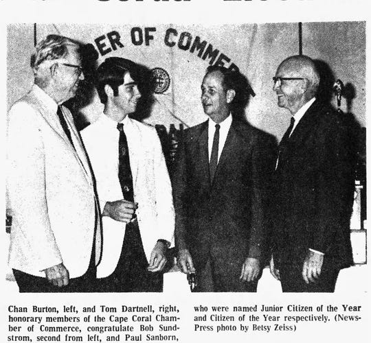 The Cape Coral Chamber of Commerce named Paul Sanborn its Citizen of the Year in January of 1969.