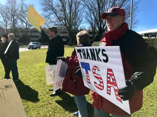 Tom Balek drove from York County on Monday to stand with a group of Upstate residents at the Greenville-Spartanburg International Airport to show support for TSA agents during the partial federal government shutdown.