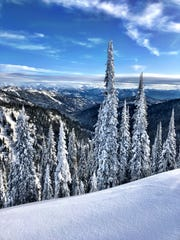 Snow combines with blue skies for a striking day at Whitefish Mountain Resort.