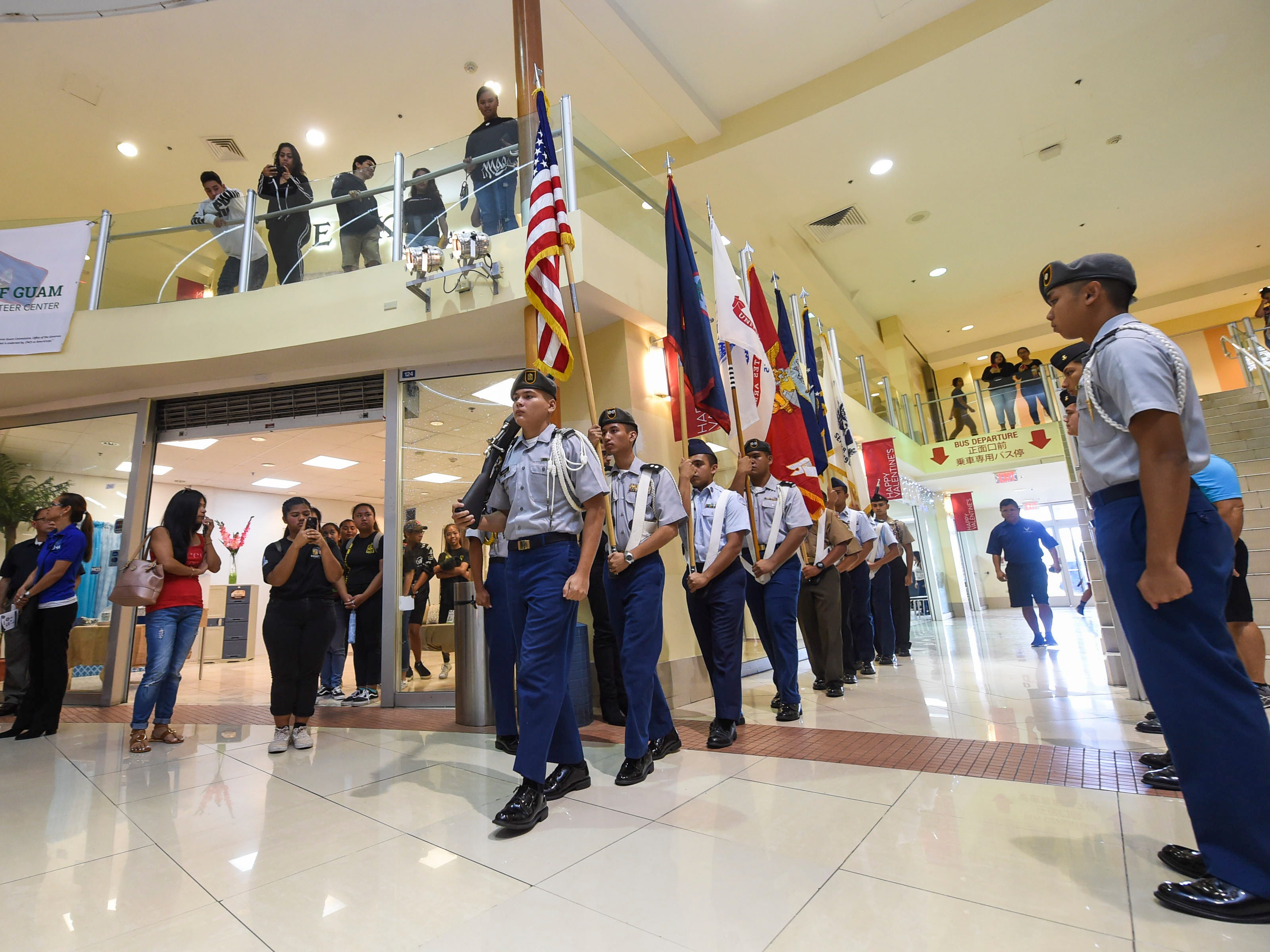 The Joint Junior ROTC Color Guard give the presentation of colors during the 2019 Martin Luther King Jr. Day of Service ceremony at the Agana Shopping Center, Jan. 21, 2019.