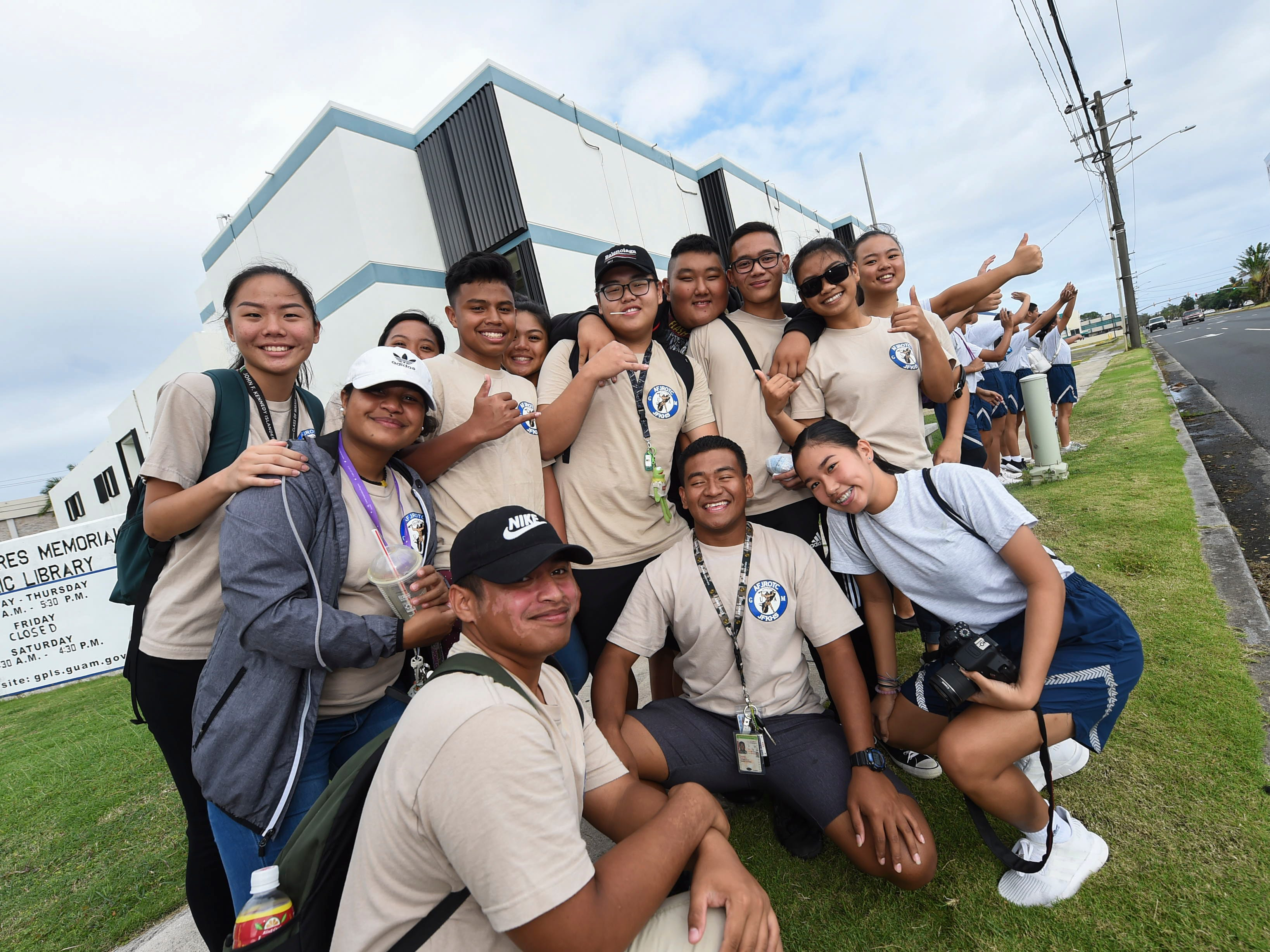 John F. Kennedy High School Air Force Junior ROTC students gather in a group during the 2019 Martin Luther King Jr. Day of Service wave in Hagåtña, Jan. 21, 2019.