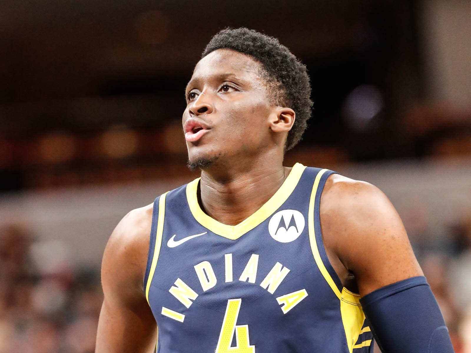 Indiana Pacers guard Victor Oladipo (4) shoots a free throw during a game between the Pacers and Hornets at Bankers Life Fieldhouse on Sunday, Jan. 20, 2019.