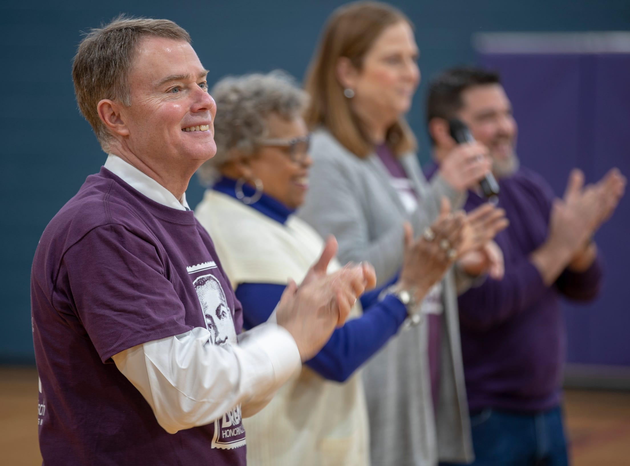 Mayor Joe Hogsett helps usher in a remodel of Frederick Douglass Park on Martin Luther King Jr. Day, Indianapolis, Monday, Jan. 21, 2019. The park includes better facilities for neighborhood kids and families to take part in such as an overhauled basketball court, pool table, and activity rooms.