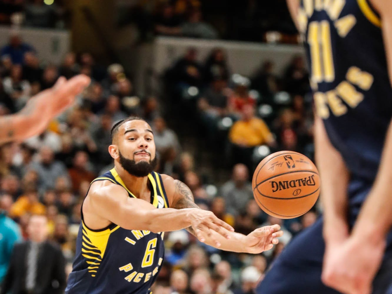 Indiana Pacers guard Cory Joseph (6), passes to a team mate during a game between the Pacers and Hornets at Bankers Life Fieldhouse on Sunday, Jan. 20, 2019.