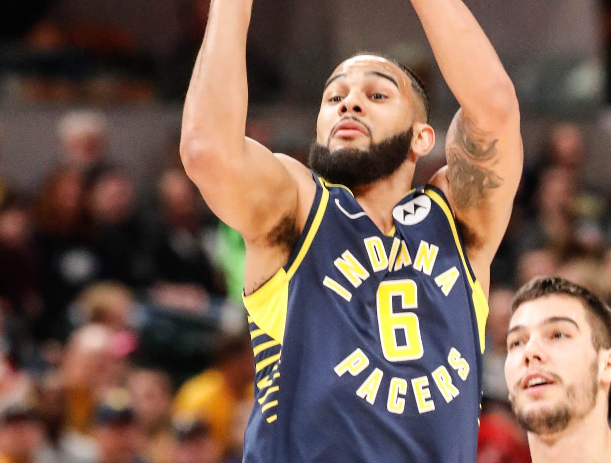 Indiana Pacers guard Cory Joseph (6), shoots a last min. shot during a game between the Pacers and Hornets at Bankers Life Fieldhouse on Sunday, Jan. 20, 2019.