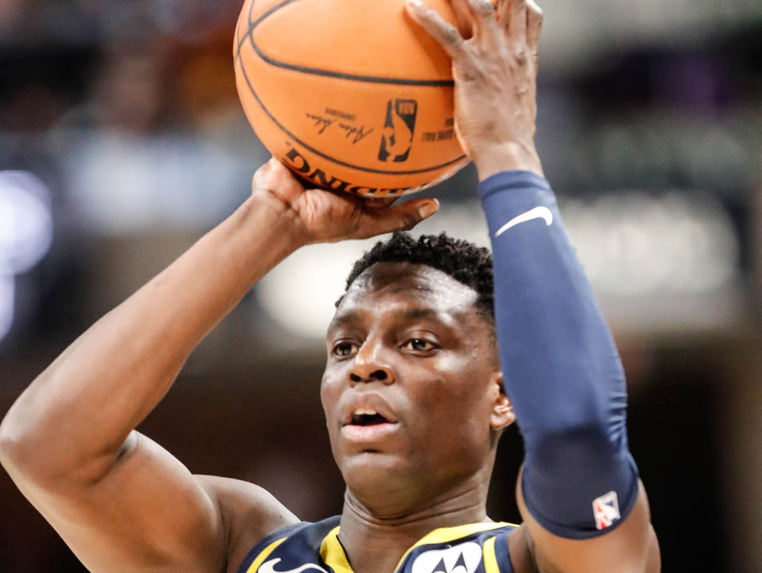 Indiana Pacers guard Darren Collison (2) shoots a free throw during a game between the Pacers and Hornets at Bankers Life Fieldhouse on Sunday, Jan. 20, 2019.