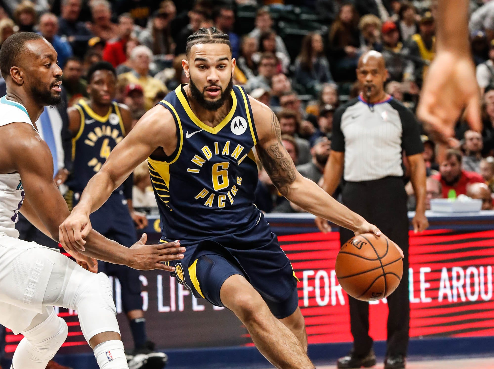 Indiana Pacers guard Cory Joseph (6) drives to the hoop during a game between the Pacers and Hornets at Bankers Life Fieldhouse on Sunday, Jan. 20, 2019.