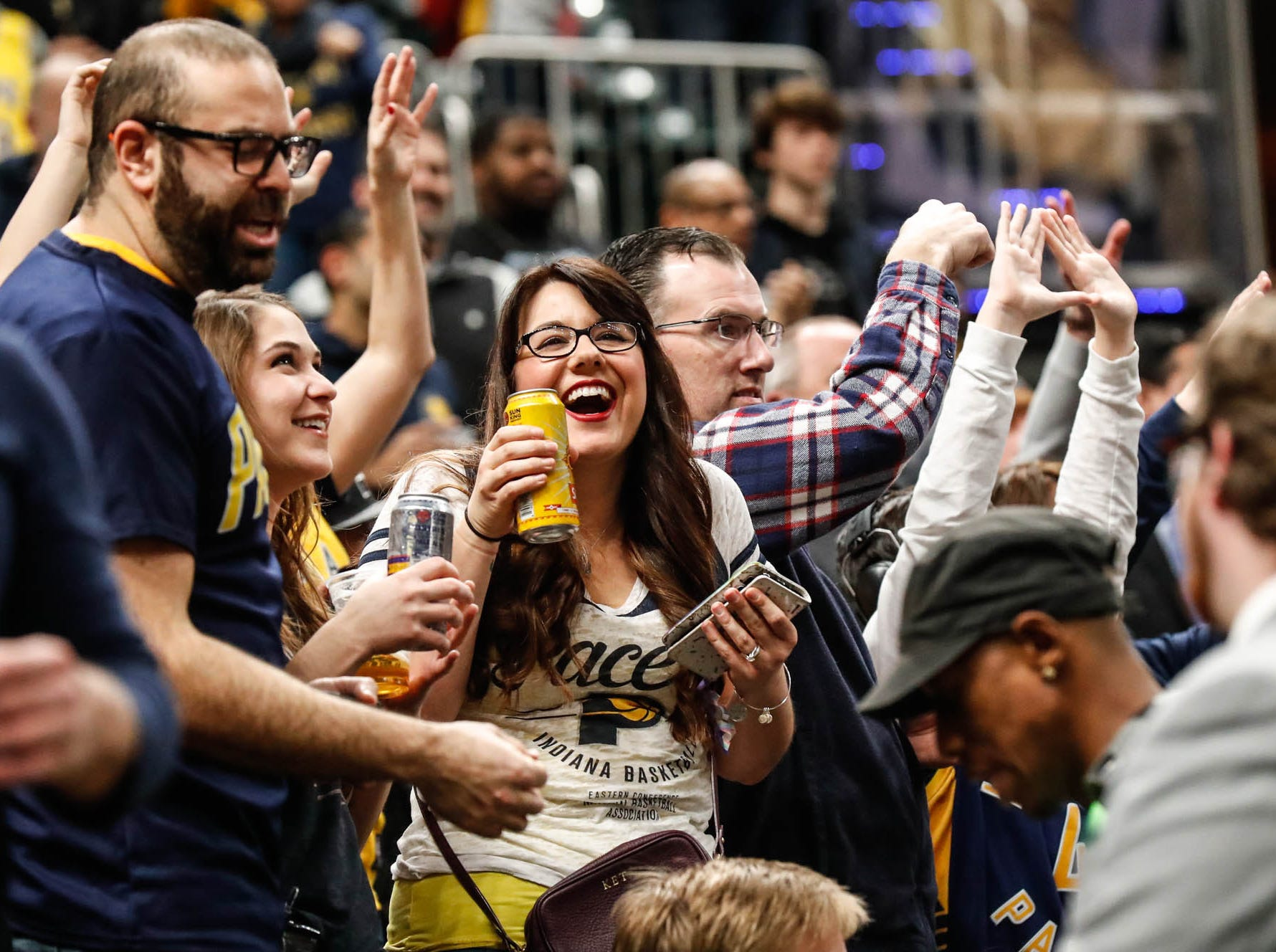 Indiana Pacers fans enjoy a game between the Pacers and Hornets at Bankers Life Fieldhouse on Sunday, Jan. 20, 2019.