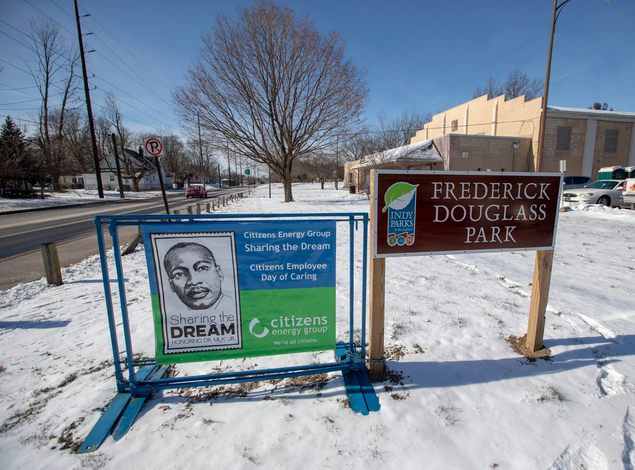 The newly remodeled Frederick Douglass Park, Indianapolis, Monday, Jan. 21, 2019.  Temperatures of about five degrees kept many people inside, and several events were poorly attended.