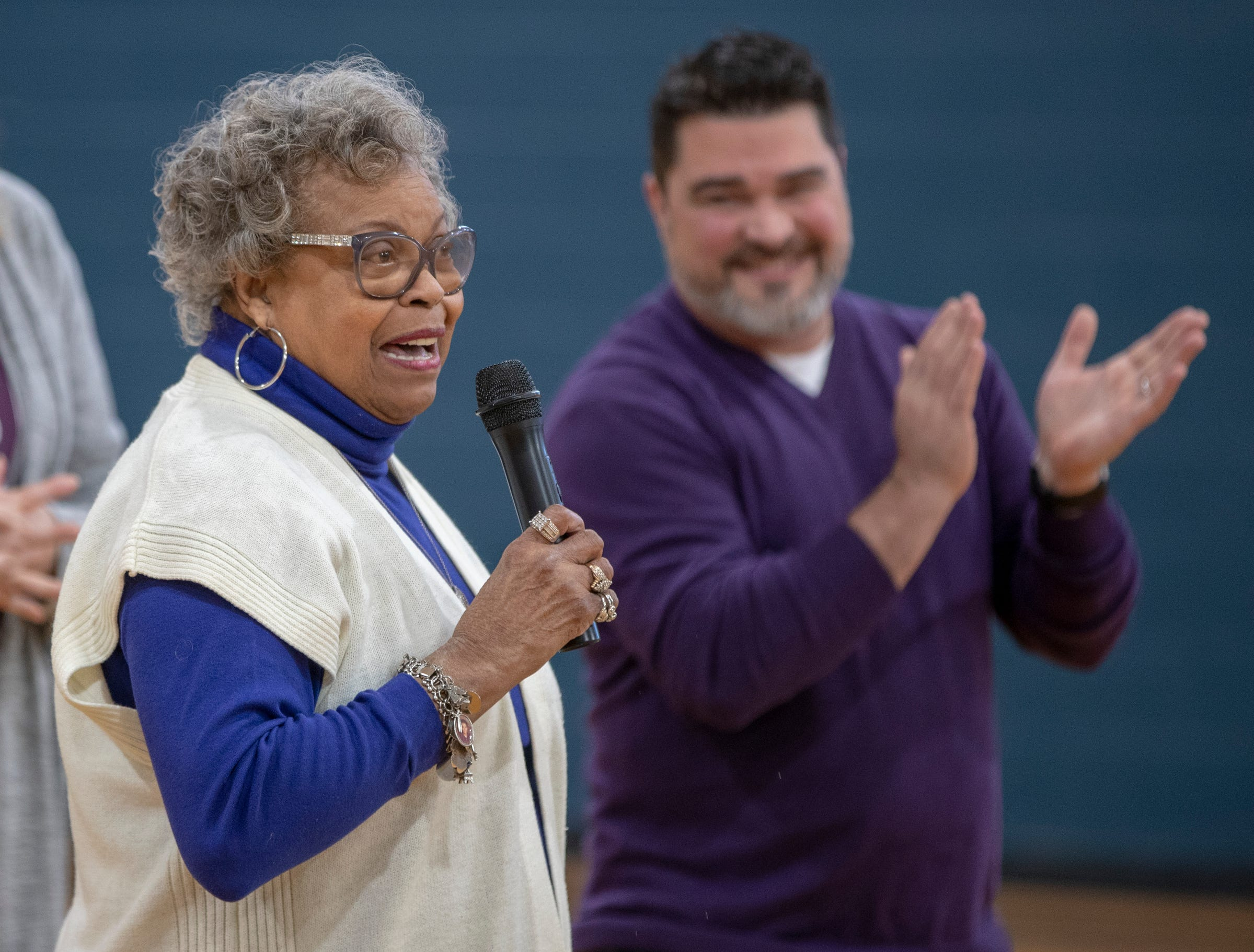 Frankie Casel, President of the Friends of Douglass, speaks during the day's dedication of the remodel of Frederick Douglass Park, Indianapolis, Monday, Jan. 21, 2019.