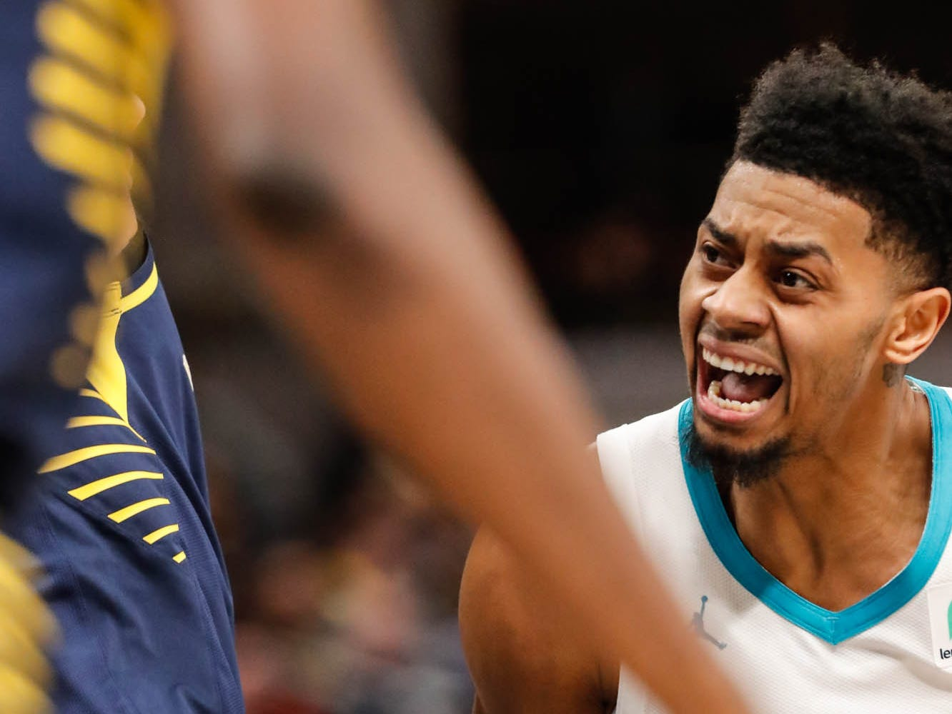 Charlotte Hornets guard Jeremy Lamb (3) drives through the Pacers defense during a game between the Pacers and Hornets at Bankers Life Fieldhouse on Sunday, Jan. 20, 2019.