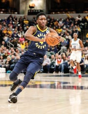 Indiana Pacers guard Victor Oladipo (4), passes the ball during a game between the Pacers and Hornets at Bankers Life Fieldhouse on Sunday, Jan. 20, 2019.