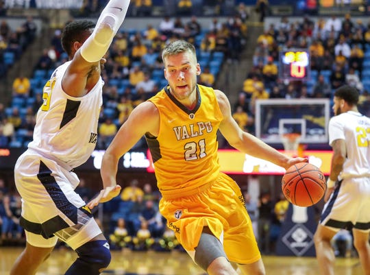 Nov 24, 2018; Morgantown, WV, USA; Valparaiso Crusaders center Derrik Smits (21) drives down the lane during the first half against the West Virginia Mountaineers at WVU Coliseum.