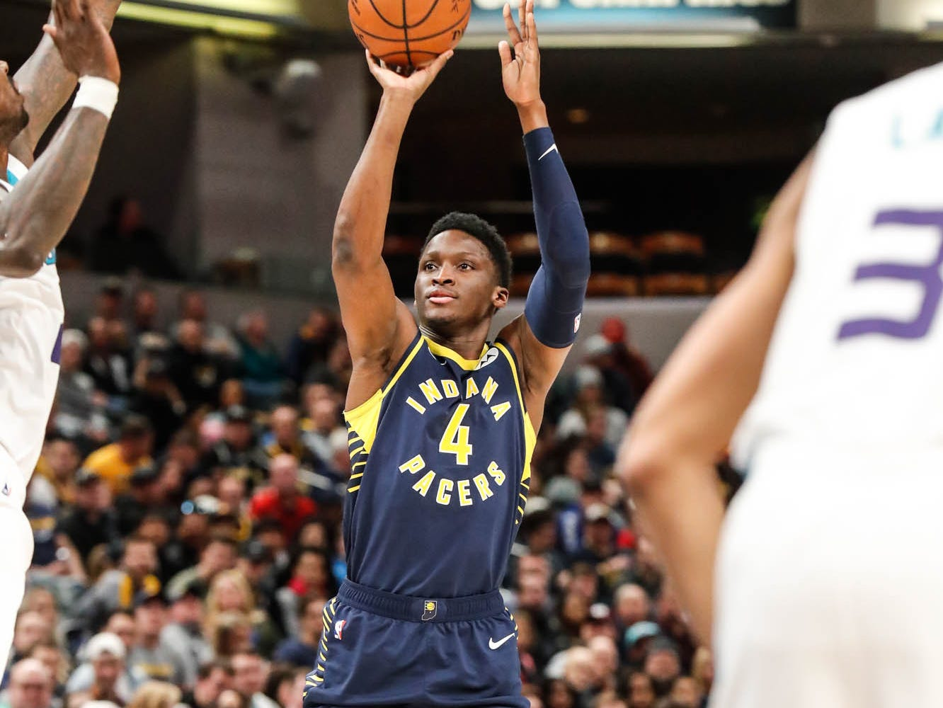 Indiana Pacers guard Victor Oladipo (4) hits nothing but net during a game between the Pacers and Hornets at Bankers Life Fieldhouse on Sunday, Jan. 20, 2019.