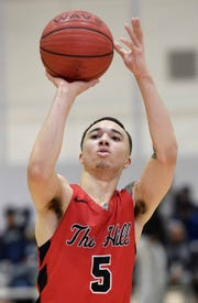 Center Hill's Calvin Temple (5) shoots against Petal on Monday, January 21, 2019, at the Rumble in the South high school basketball tournament at St. Andrew's Episcopal School in Ridgeland, Miss.