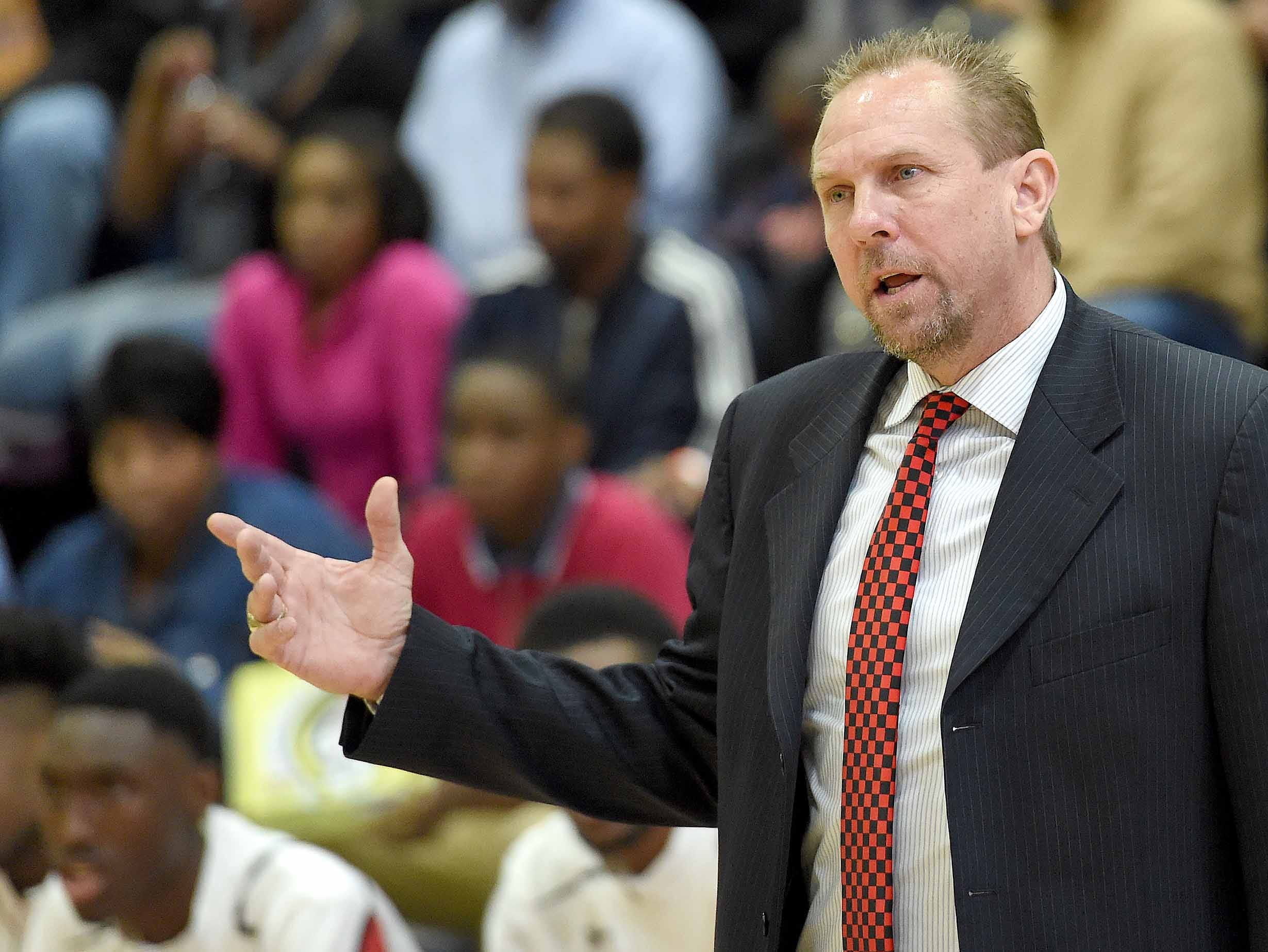 Petal head coach Todd Kimble gestures to his Panthers on Monday, January 21, 2019, at the Rumble in the South high school basketball tournament at St. Andrew's Episcopal School in Ridgeland, Miss.