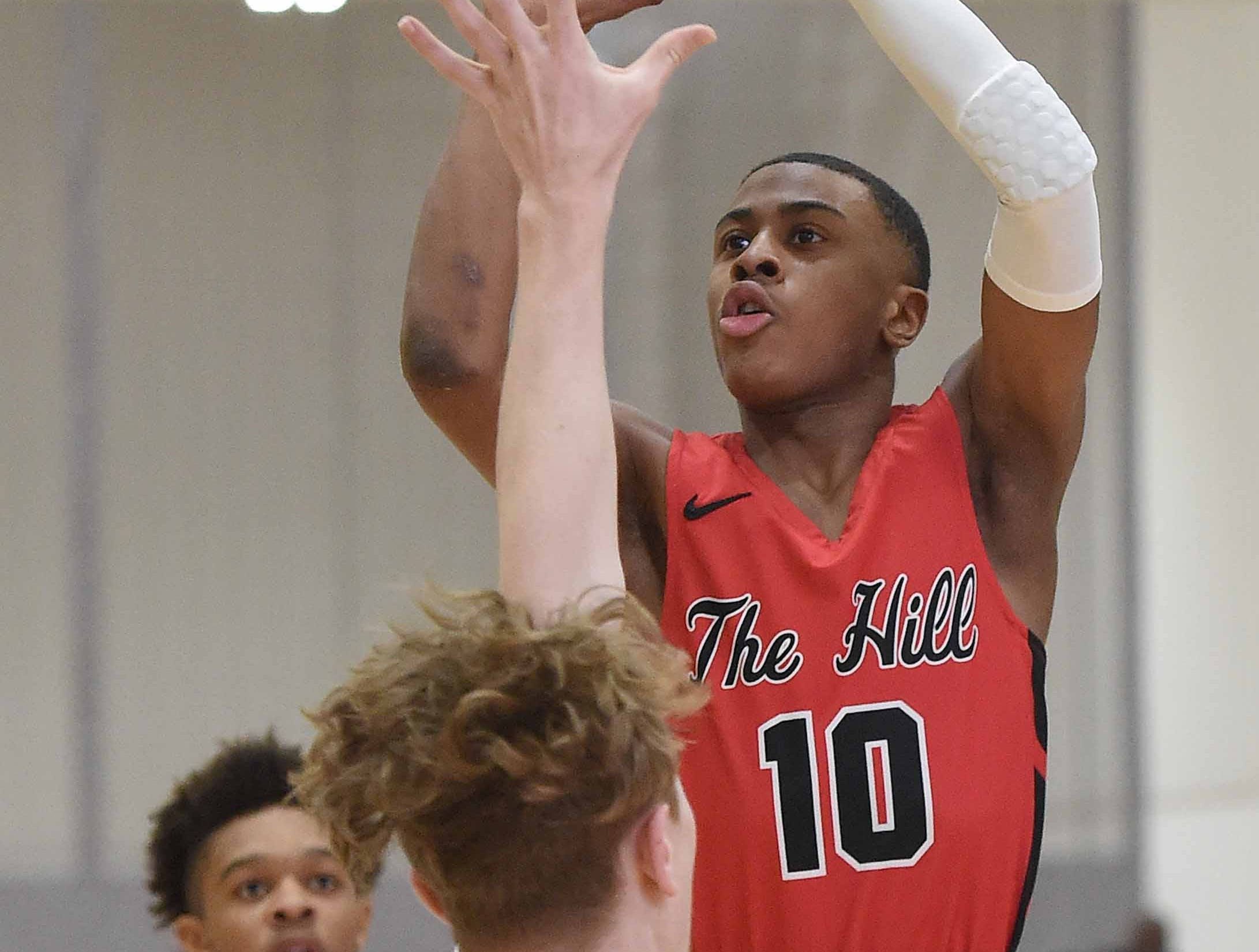 Center Hill's Kenneth Lewis (10) shoots against Petal on Monday, January 21, 2019, at the Rumble in the South high school basketball tournament at St. Andrew's Episcopal School in Ridgeland, Miss.