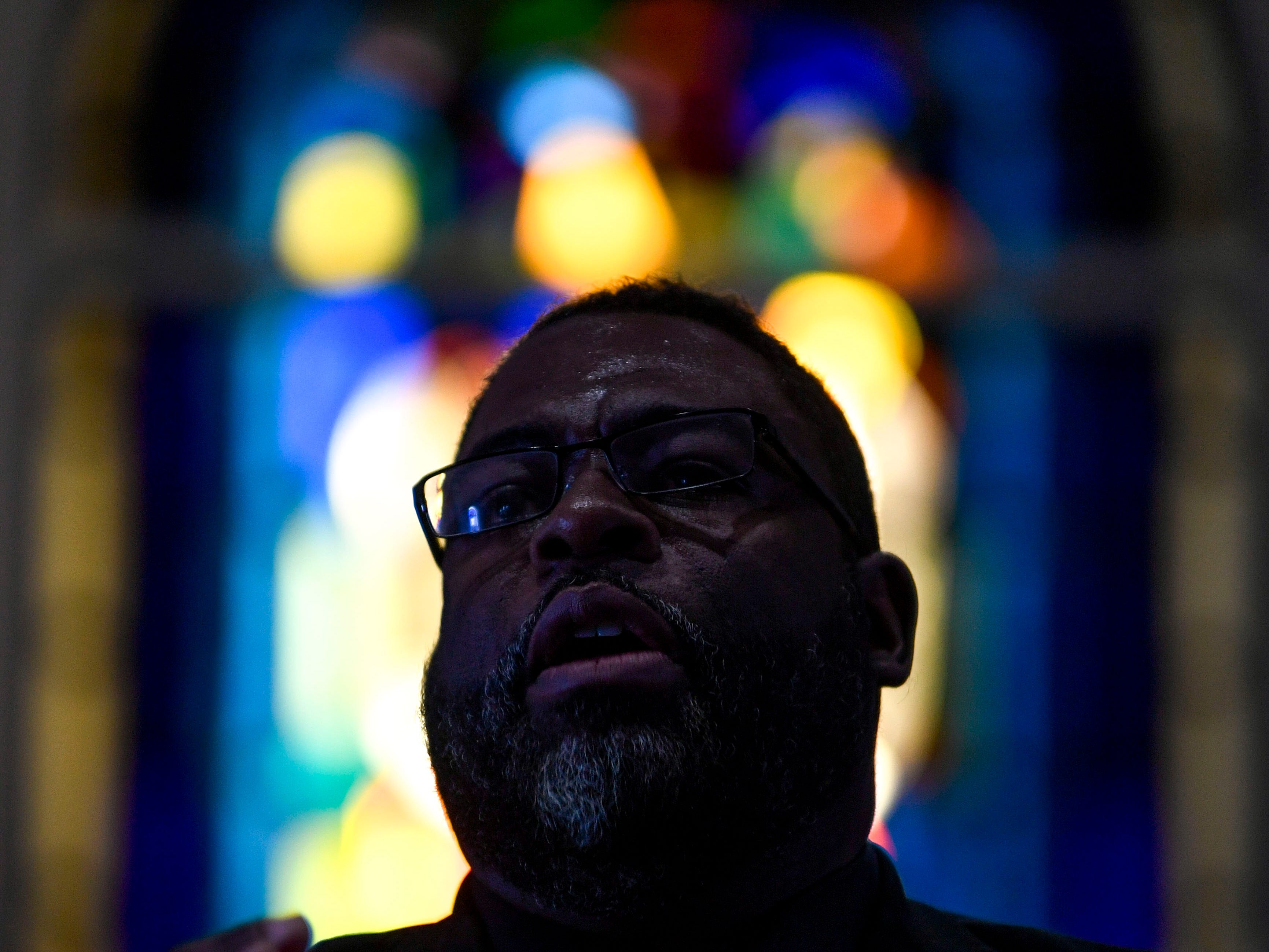 Rev. Cleavon Meabon speaks to the crowd during a service held for Martin Luther King Jr. Day at Mt. Zion Baptist Church in Jackson, Tenn., on Monday, Jan. 21, 2019.