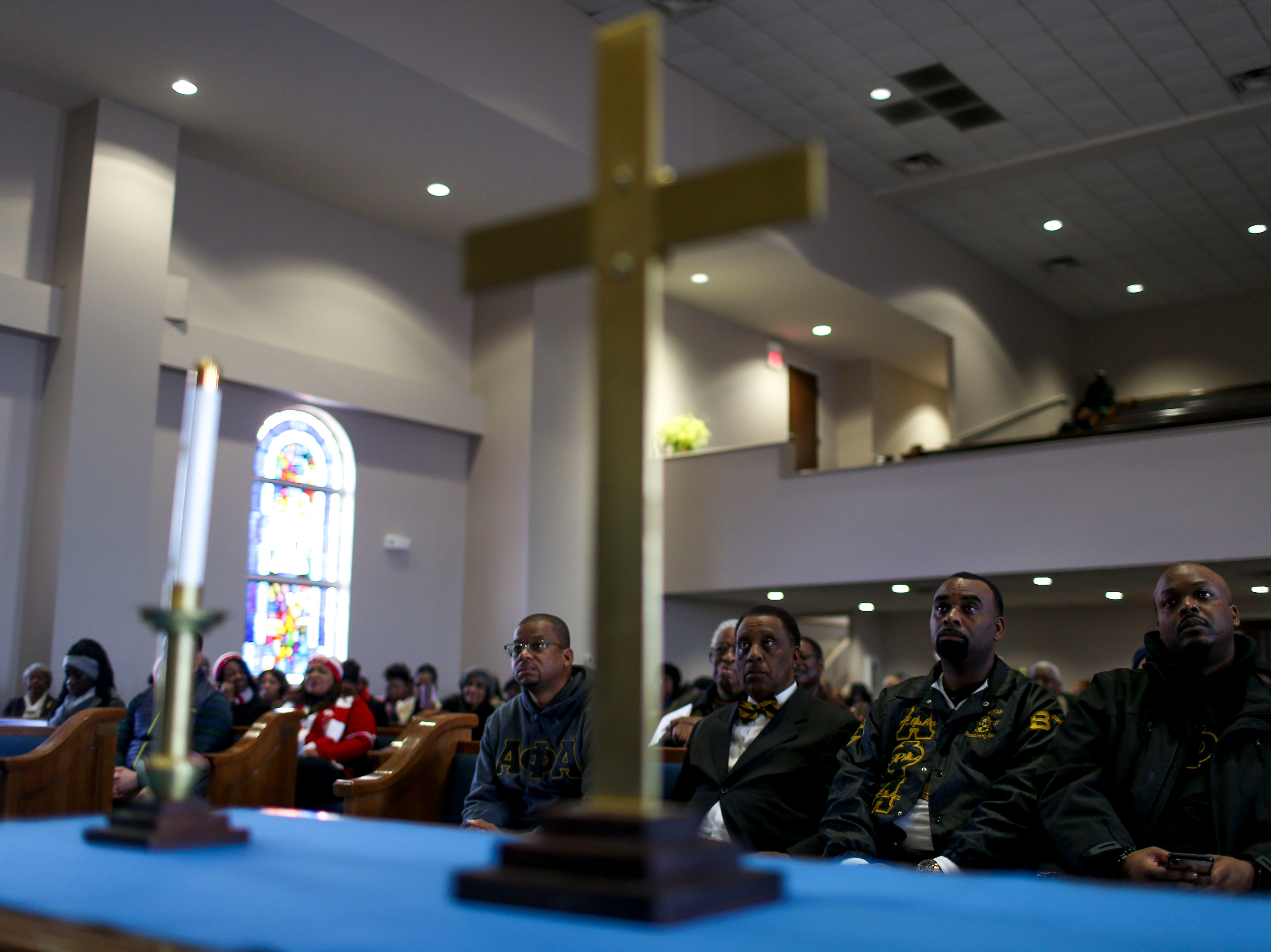 Audience members listen intently to speakers during a service held for Martin Luther King Jr. Day at Mt. Zion Baptist Church in Jackson, Tenn., on Monday, Jan. 21, 2019.
