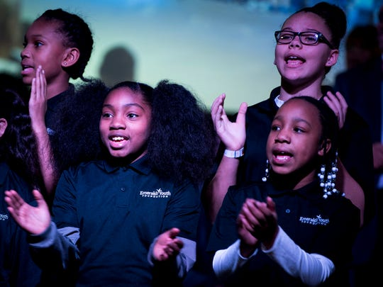 The Emerald Youth Foundation Choir sings during the MLK Memorial Tribute Service held at Overcoming Believers Church in Knoxville, Tenn., on Monday, January 21, 2019.