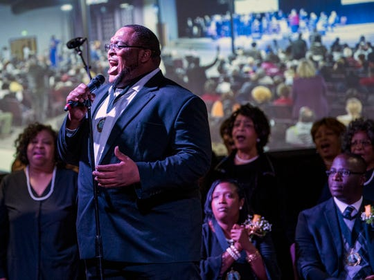 The MLK Holiday Celebration Choirs sings during the MLK Memorial Tribute Service held at Overcoming Believers Church in Knoxville, Tenn., on Monday, January 21, 2019.