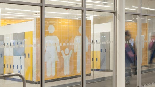 West Lafayette is considering a gender-neutral locker room, similar to this one at the Meadowvale Community Centre and Library in Mississauga, Ontario, for its $34 million rec center being designed for Cumberland Park.