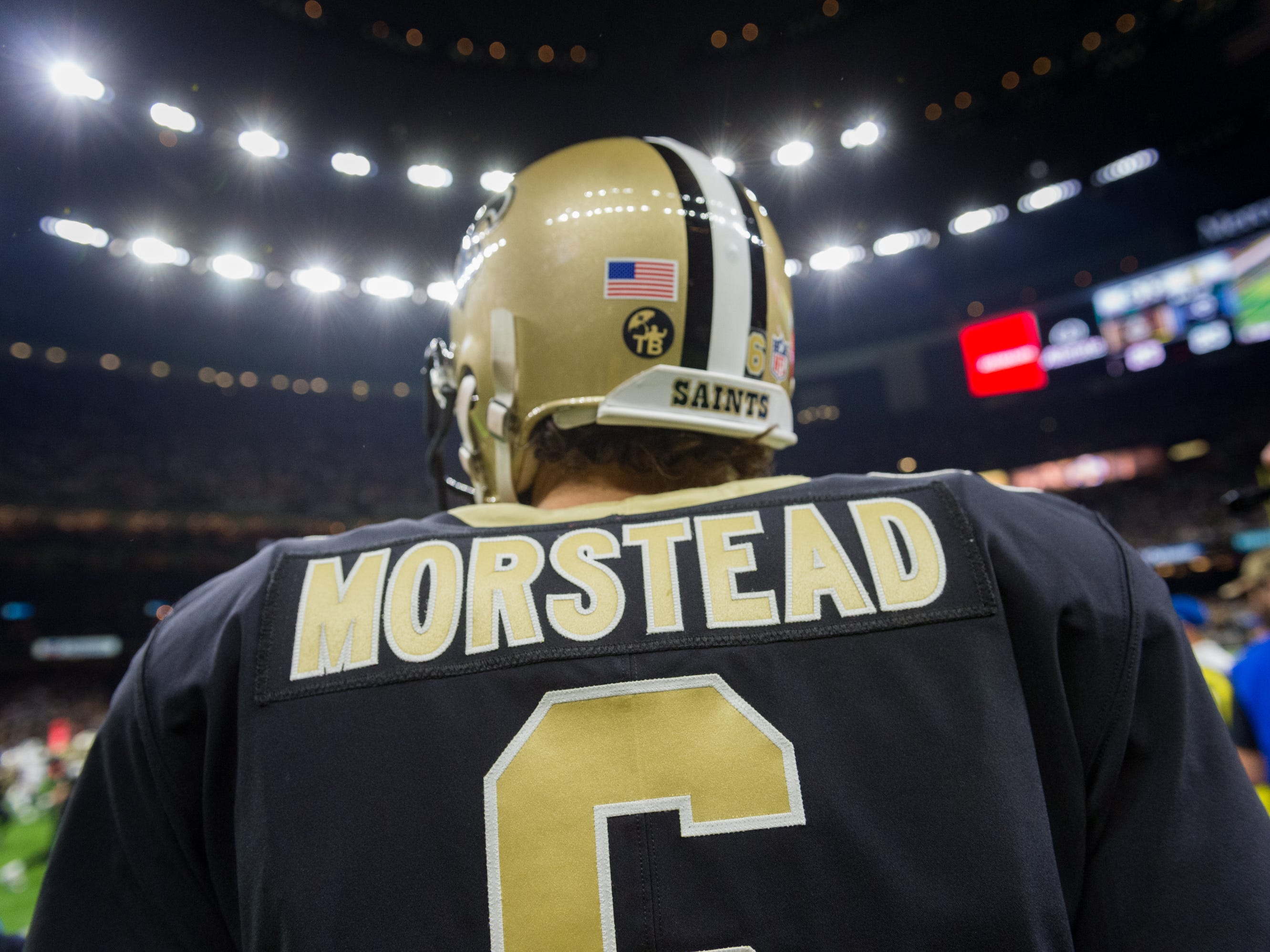 Saints punter Thomas Morstead on the sideline during the NFC Championship playoff football game between the New Orleans Saints and the Los Angeles Rams at the Mercedes-Benz Superdome in New Orleans. Sunday, Jan. 20, 2019.