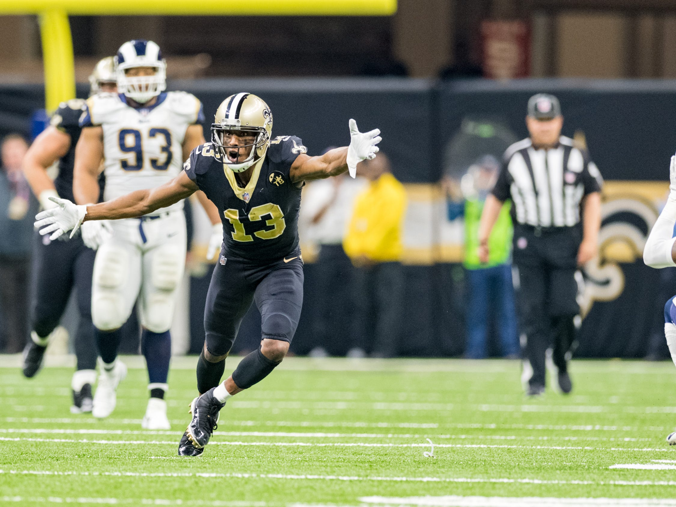 Rams Safety catches an interception on a pass intended for Saints Michael Thomas during the NFC Championship playoff football game between the New Orleans Saints and the Los Angeles Rams at the Mercedes-Benz Superdome in New Orleans. Sunday, Jan. 20, 2019.