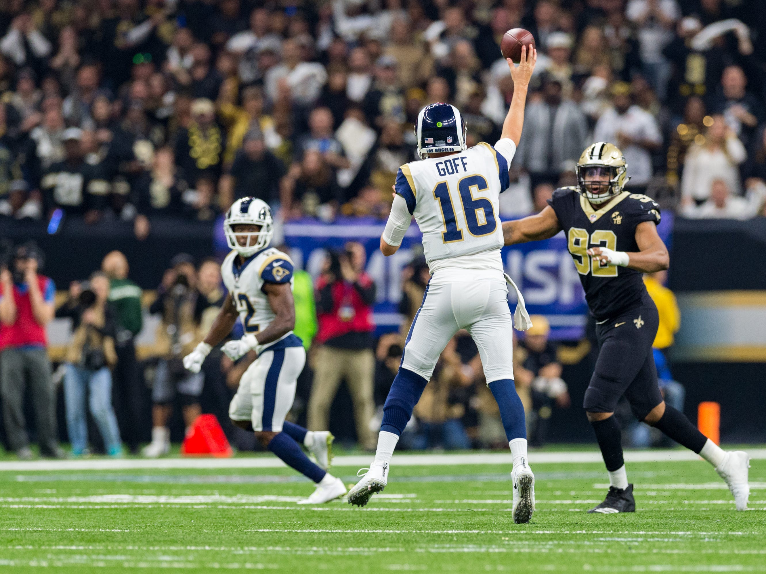 Jared Goff throws a pass to Brandon Cooks during the NFC Championship playoff football game between the New Orleans Saints and the Los Angeles Rams at the Mercedes-Benz Superdome in New Orleans. Sunday, Jan. 20, 2019.