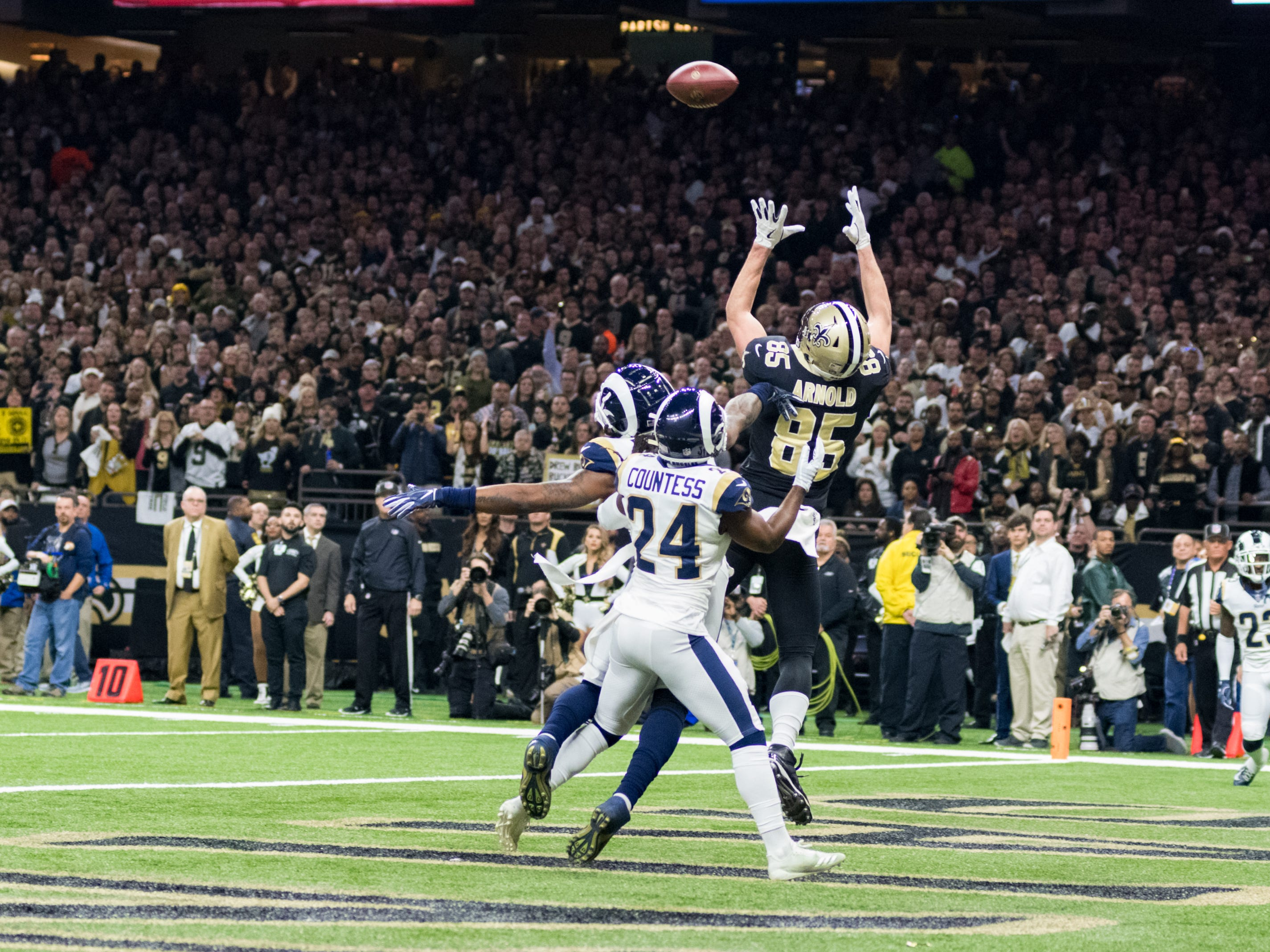 Saints tight end Dan Arnold goes up for a pass in the endzone during the NFC Championship playoff football game between the New Orleans Saints and the Los Angeles Rams at the Mercedes-Benz Superdome in New Orleans. Sunday, Jan. 20, 2019.