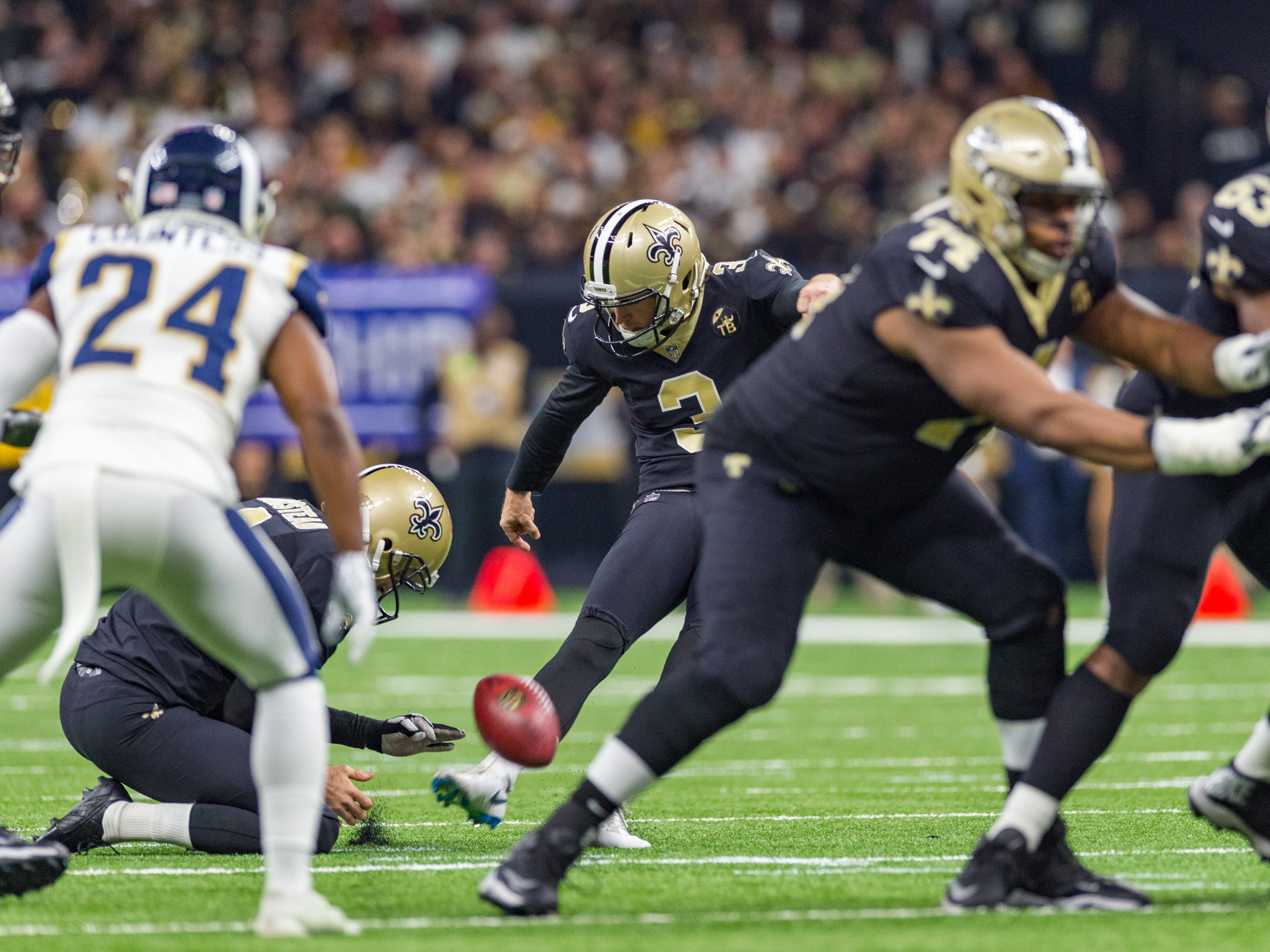 Kicker Wil Lutz during the NFC Championship playoff football game between the New Orleans Saints and the Los Angeles Rams at the Mercedes-Benz Superdome in New Orleans. Sunday, Jan. 20, 2019.