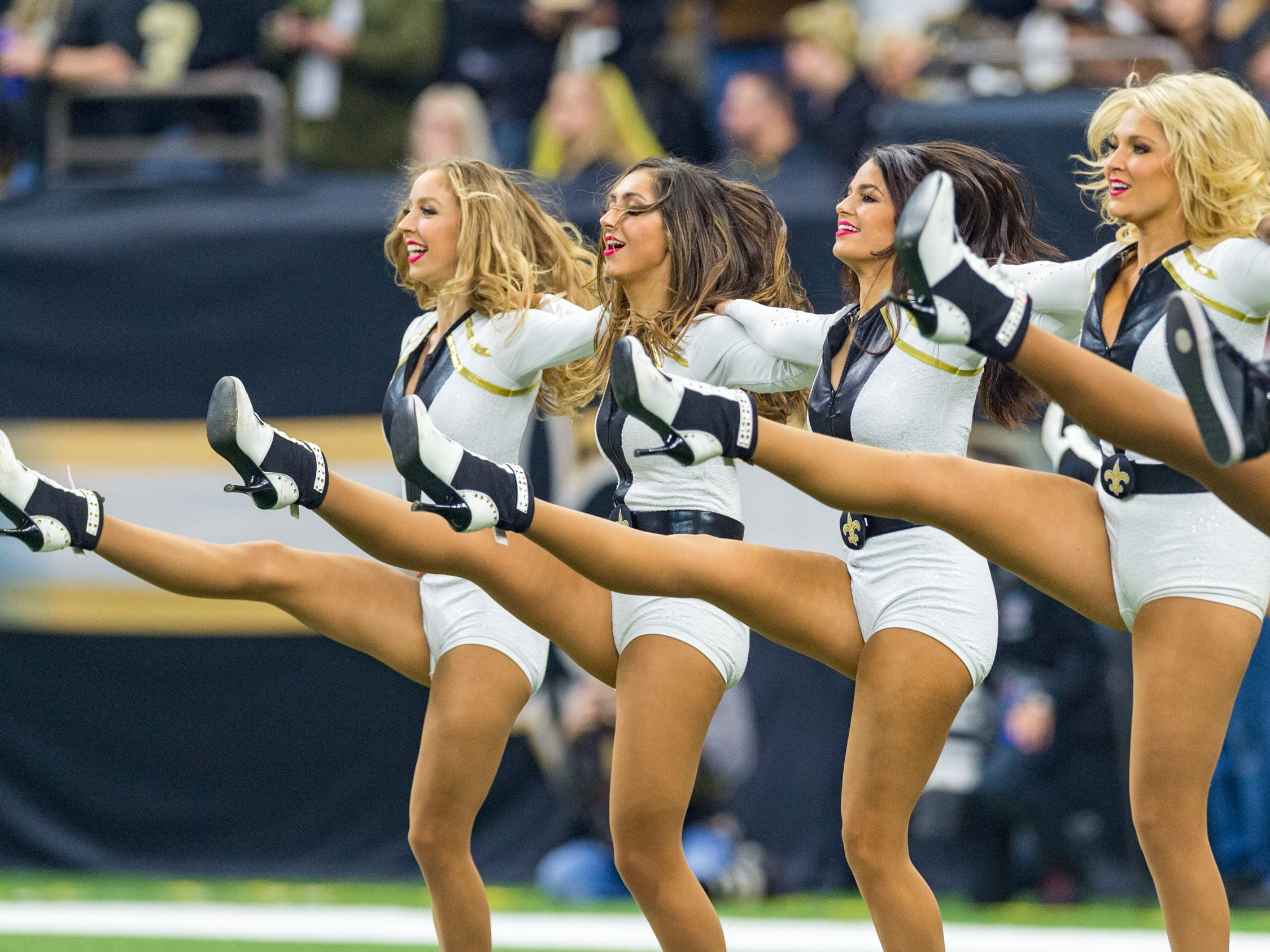 The Saintsations perform during the NFC Championship playoff football game between the New Orleans Saints and the Los Angeles Rams at the Mercedes-Benz Superdome in New Orleans. Sunday, Jan. 20, 2019.