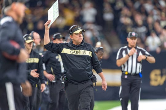 Saints head coach Sean Payton during the NFC Championship playoff football game between the New Orleans Saints and the Los Angeles Rams at the Mercedes-Benz Superdome in New Orleans. Sunday, Jan. 20, 2019.