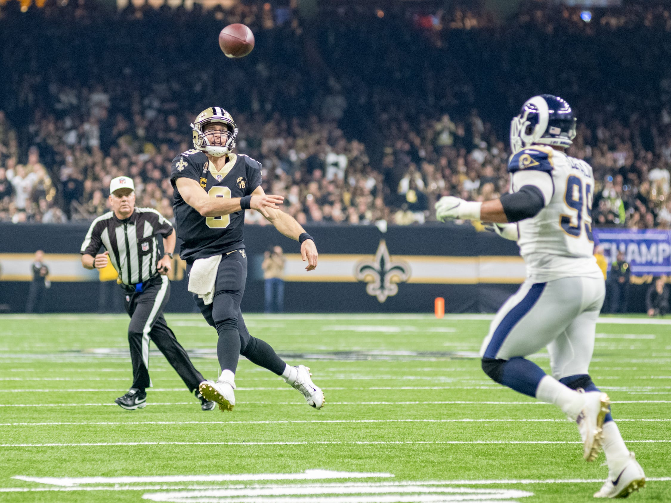 Saints quarterback Drew Brees during the NFC Championship playoff football game between the New Orleans Saints and the Los Angeles Rams at the Mercedes-Benz Superdome in New Orleans. Sunday, Jan. 20, 2019.