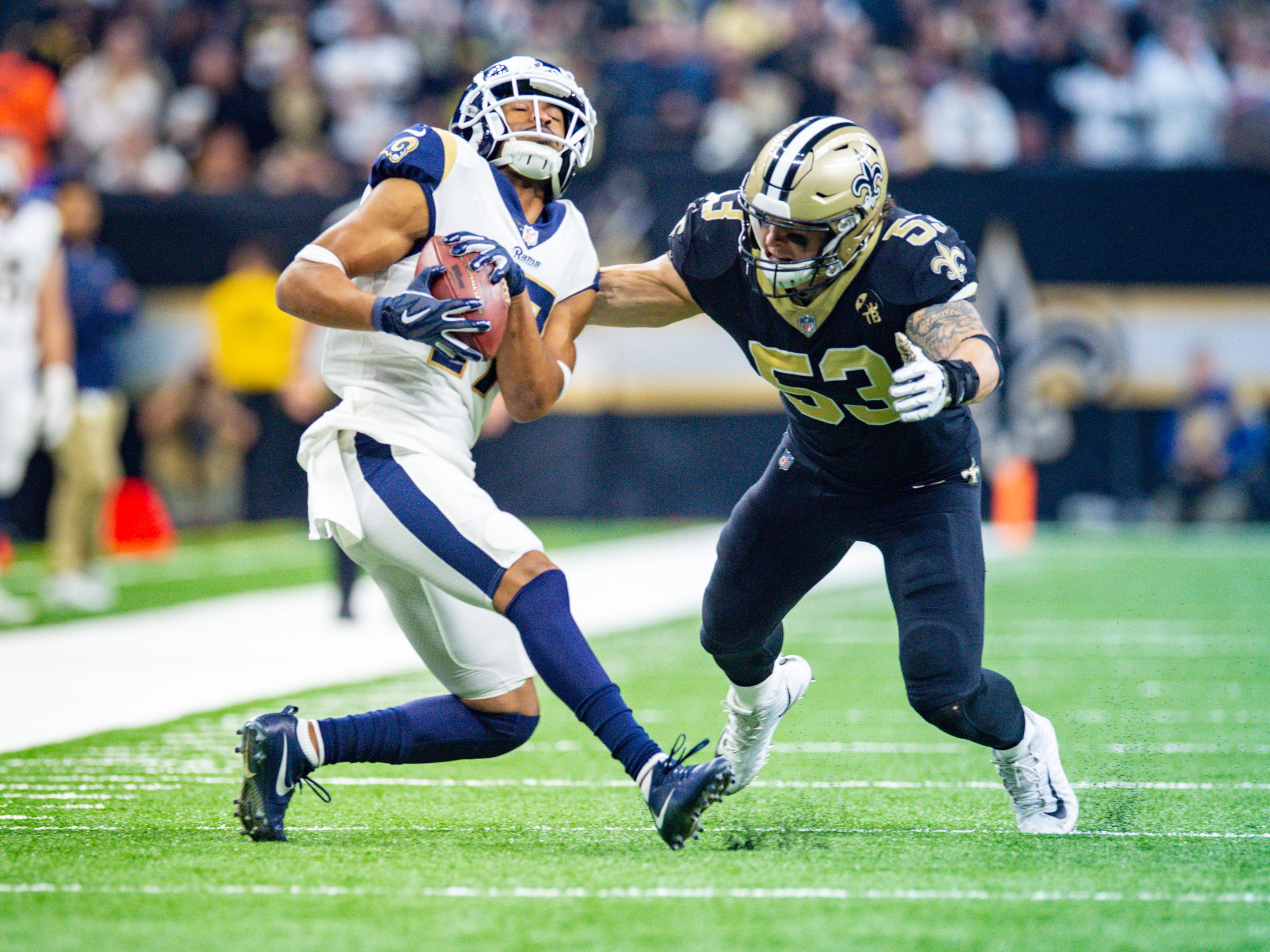 Saints AJ Klein makes a tackle during the NFC Championship playoff football game between the New Orleans Saints and the Los Angeles Rams at the Mercedes-Benz Superdome in New Orleans. Sunday, Jan. 20, 2019.