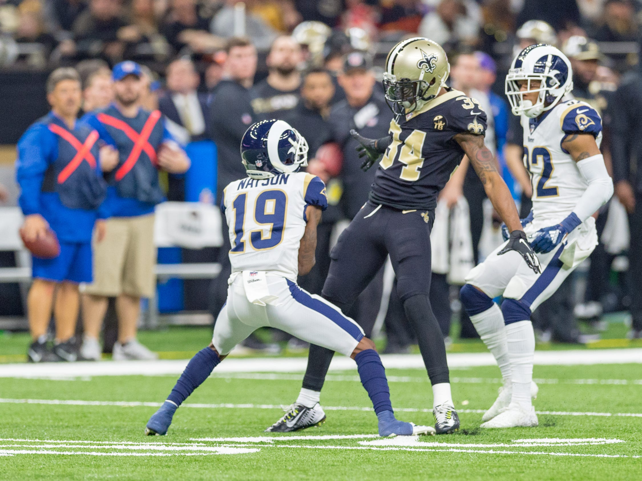 NFC Championship playoff football game between the New Orleans Saints and the Los Angeles Rams at the Mercedes-Benz Superdome in New Orleans. Sunday, Jan. 20, 2019.