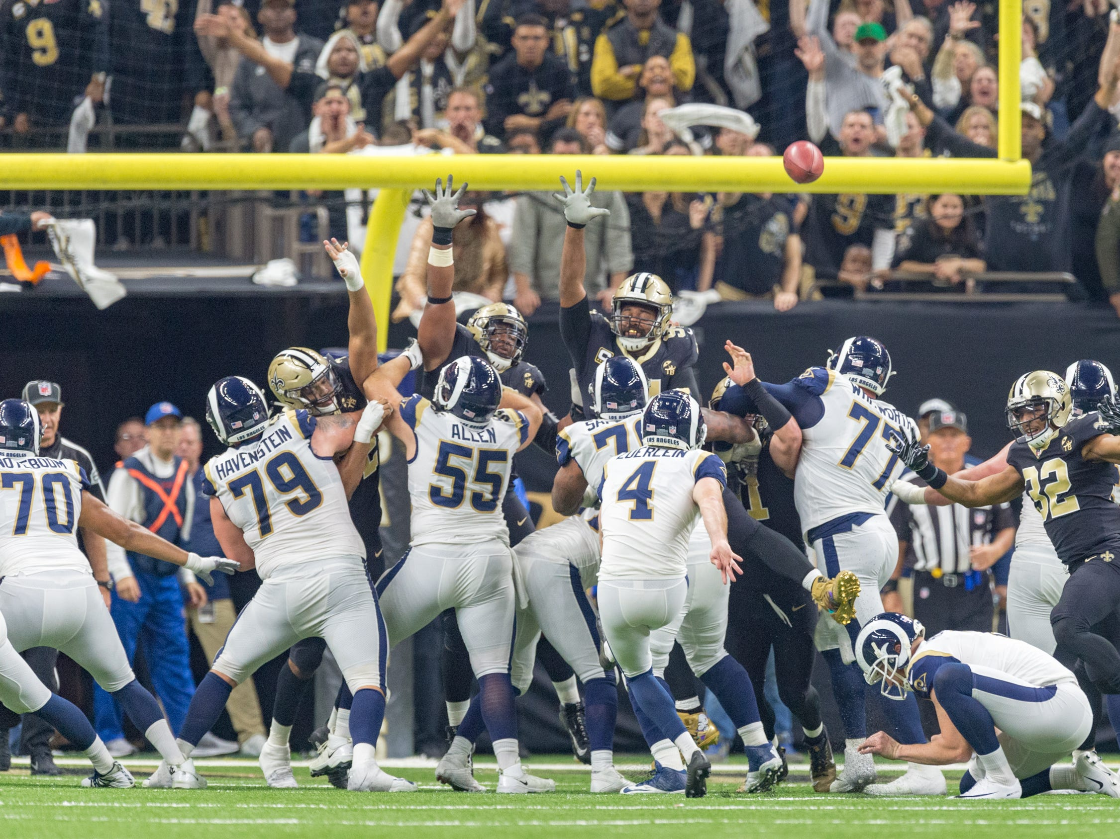 Rams kicker Greg Zuerlein kicks a field goal in overtime to win the NFC Championship playoff football game between the New Orleans Saints and the Los Angeles Rams at the Mercedes-Benz Superdome in New Orleans. Sunday, Jan. 20, 2019.