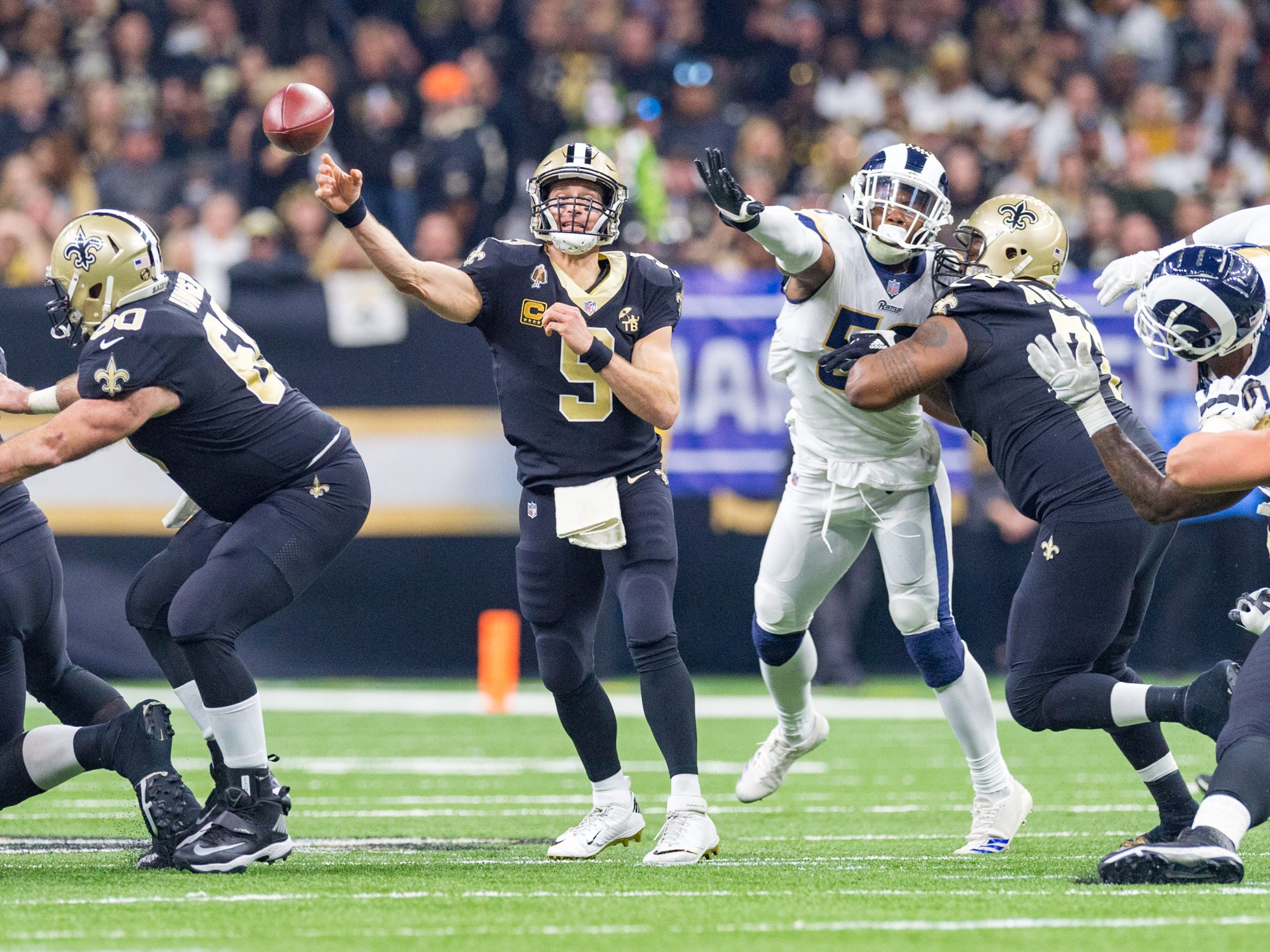 Saints quarterback Drew Brees throws a pass during the NFC Championship playoff football game between the New Orleans Saints and the Los Angeles Rams at the Mercedes-Benz Superdome in New Orleans. Sunday, Jan. 20, 2019.