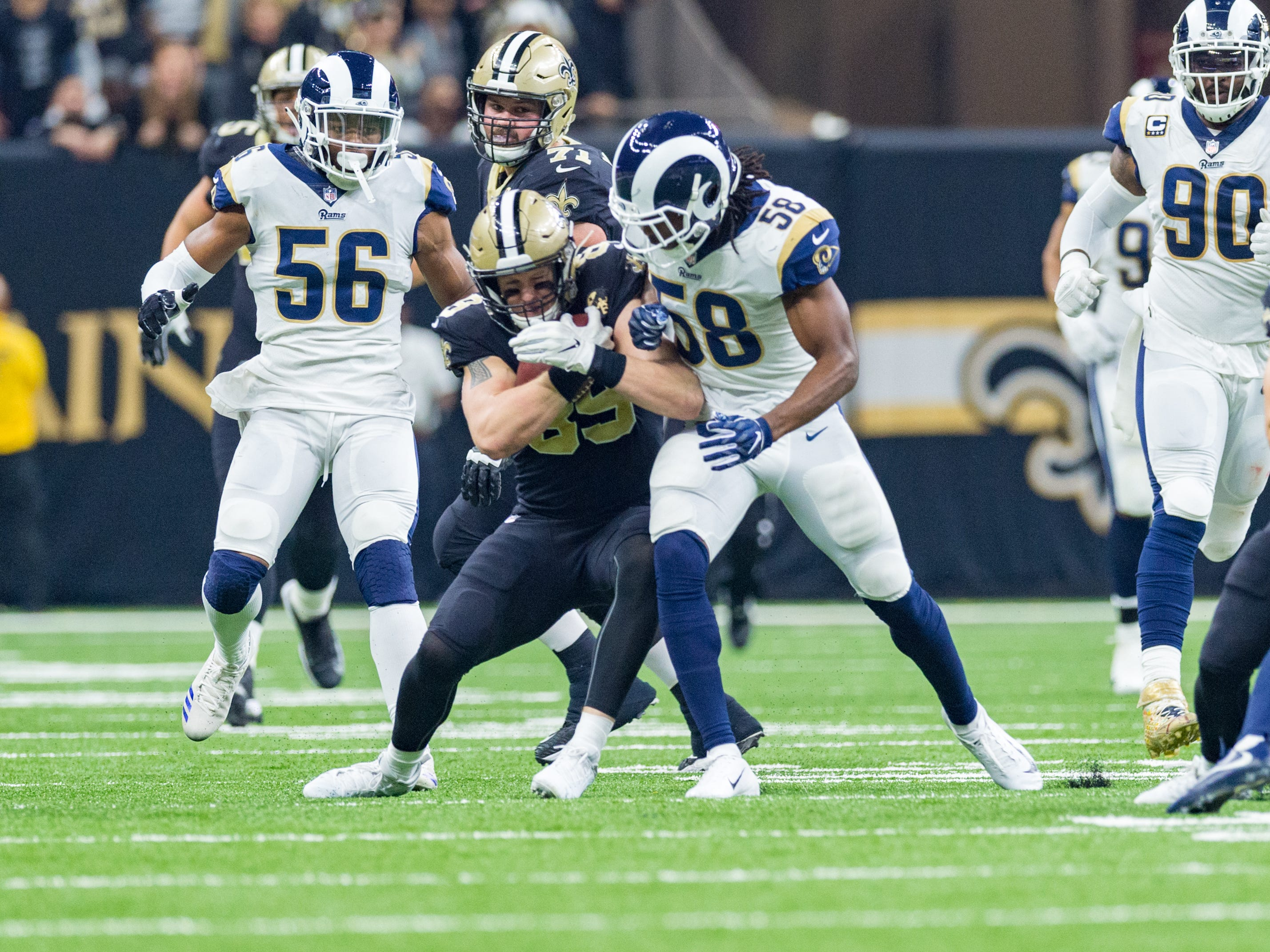 No penalty called as Rams linebacker Corey Littleton his Saints Tight end Josh Hill during the  NFC Championship playoff football game between the New Orleans Saints and the Los Angeles Rams at the Mercedes-Benz Superdome in New Orleans. Sunday, Jan. 20, 2019.