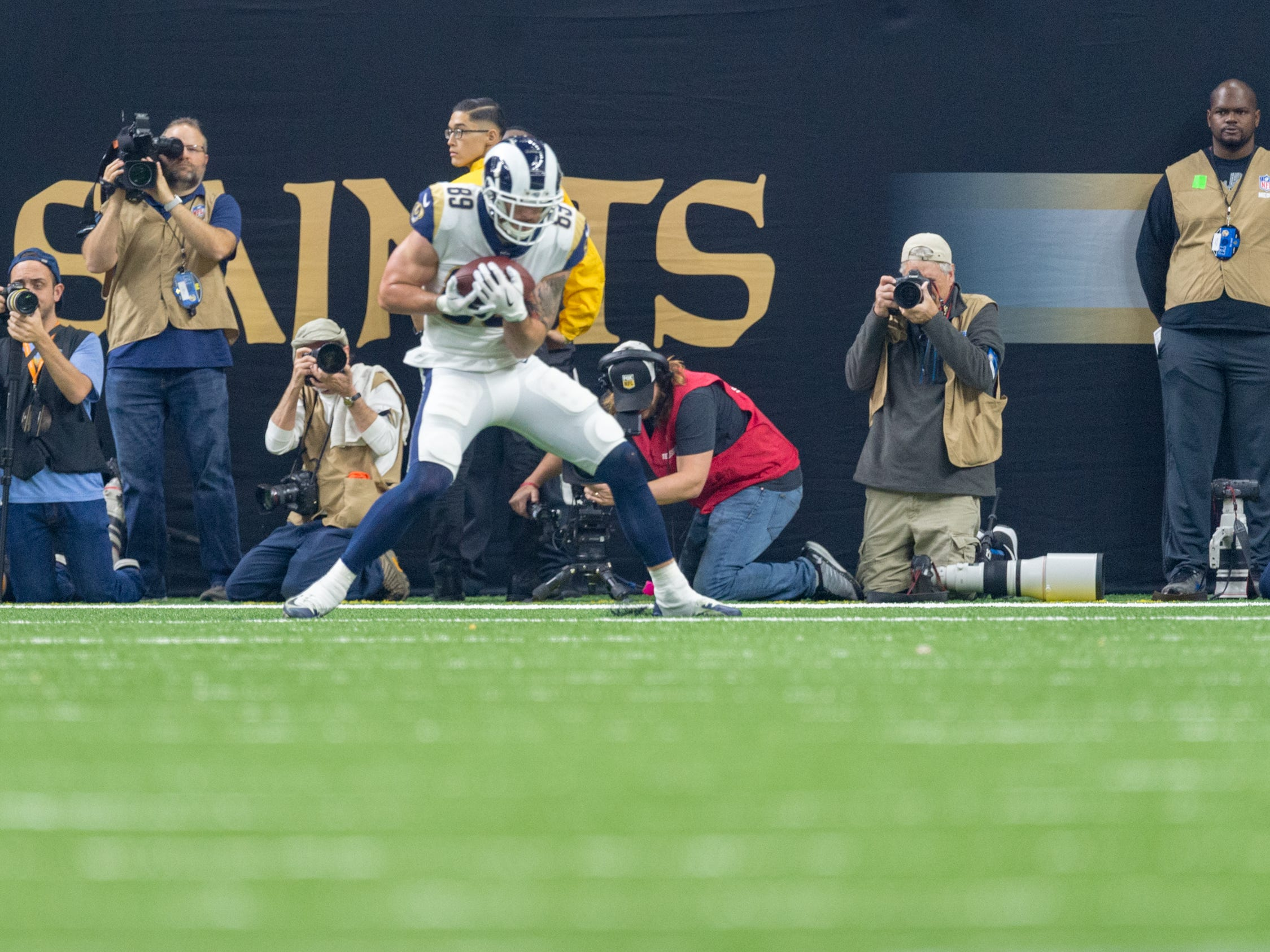 Rams Tyler Higbee scores a touchdown during the NFC Championship playoff football game between the New Orleans Saints and the Los Angeles Rams at the Mercedes-Benz Superdome in New Orleans. Sunday, Jan. 20, 2019.