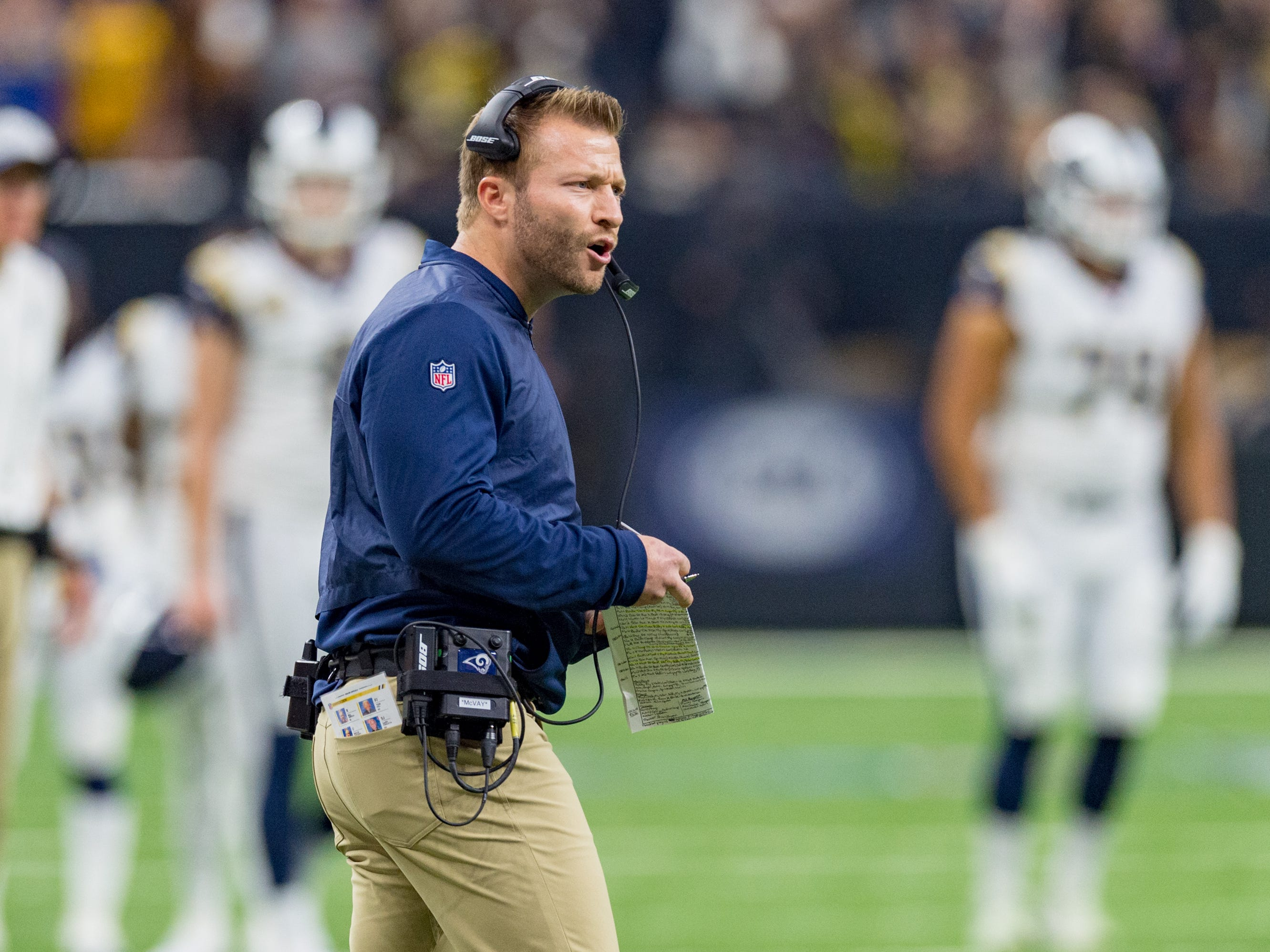 Rams head coach Sean Mcvay during the NFC Championship playoff football game between the New Orleans Saints and the Los Angeles Rams at the Mercedes-Benz Superdome in New Orleans. Sunday, Jan. 20, 2019.
