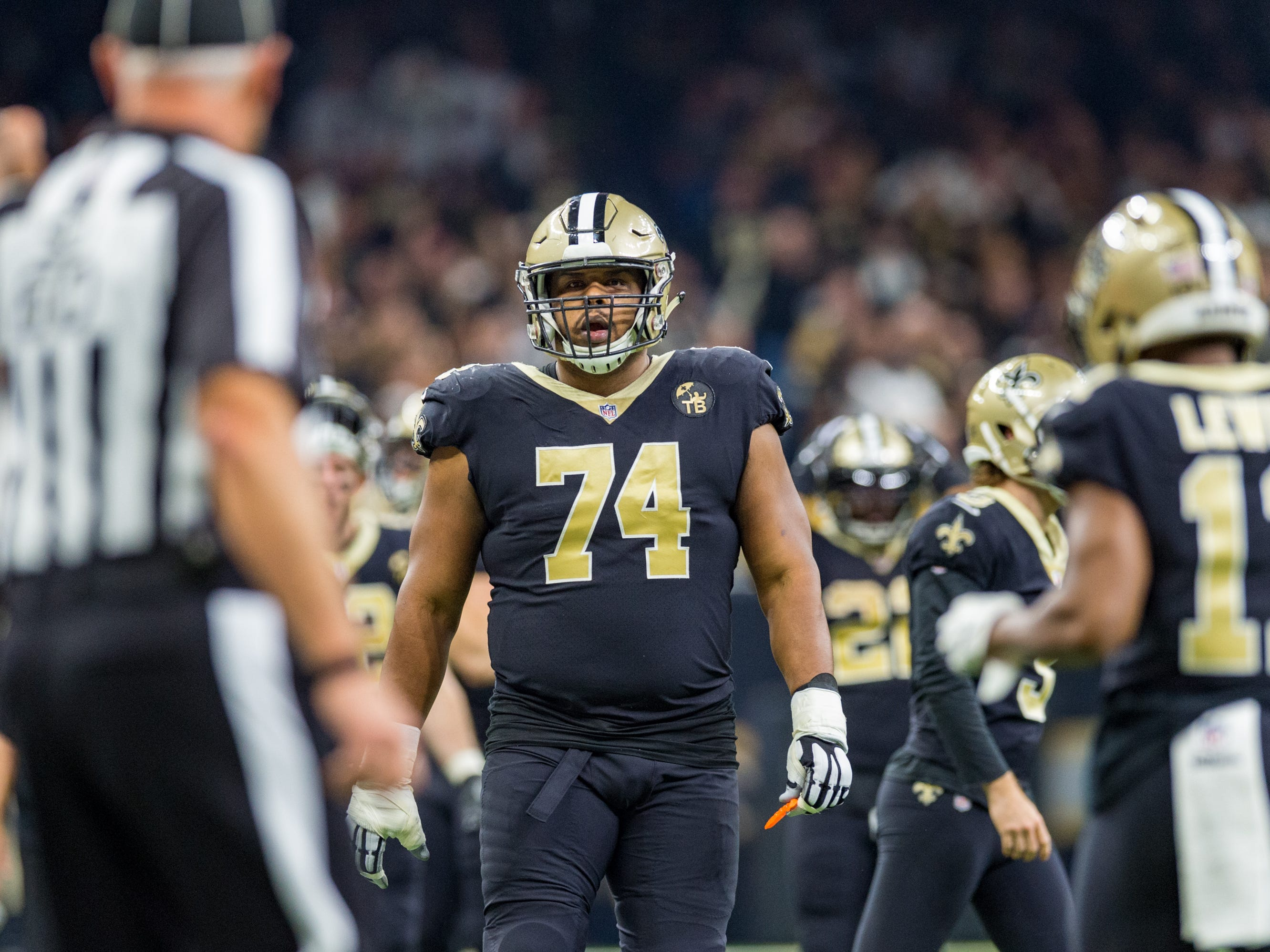 Saints tackle Jermain Bushrod reacts after the no call pass interference  during the NFC Championship playoff football game between the New Orleans Saints and the Los Angeles Rams at the Mercedes-Benz Superdome in New Orleans. Sunday, Jan. 20, 2019.