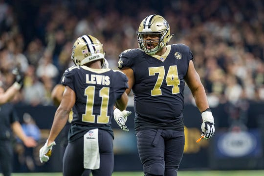Saints offensive tackle Jermon Bushrod reacts to the blown pass interference call during the NFC Championship Game in the Mercedes-Benz Superdome on Sunday.
