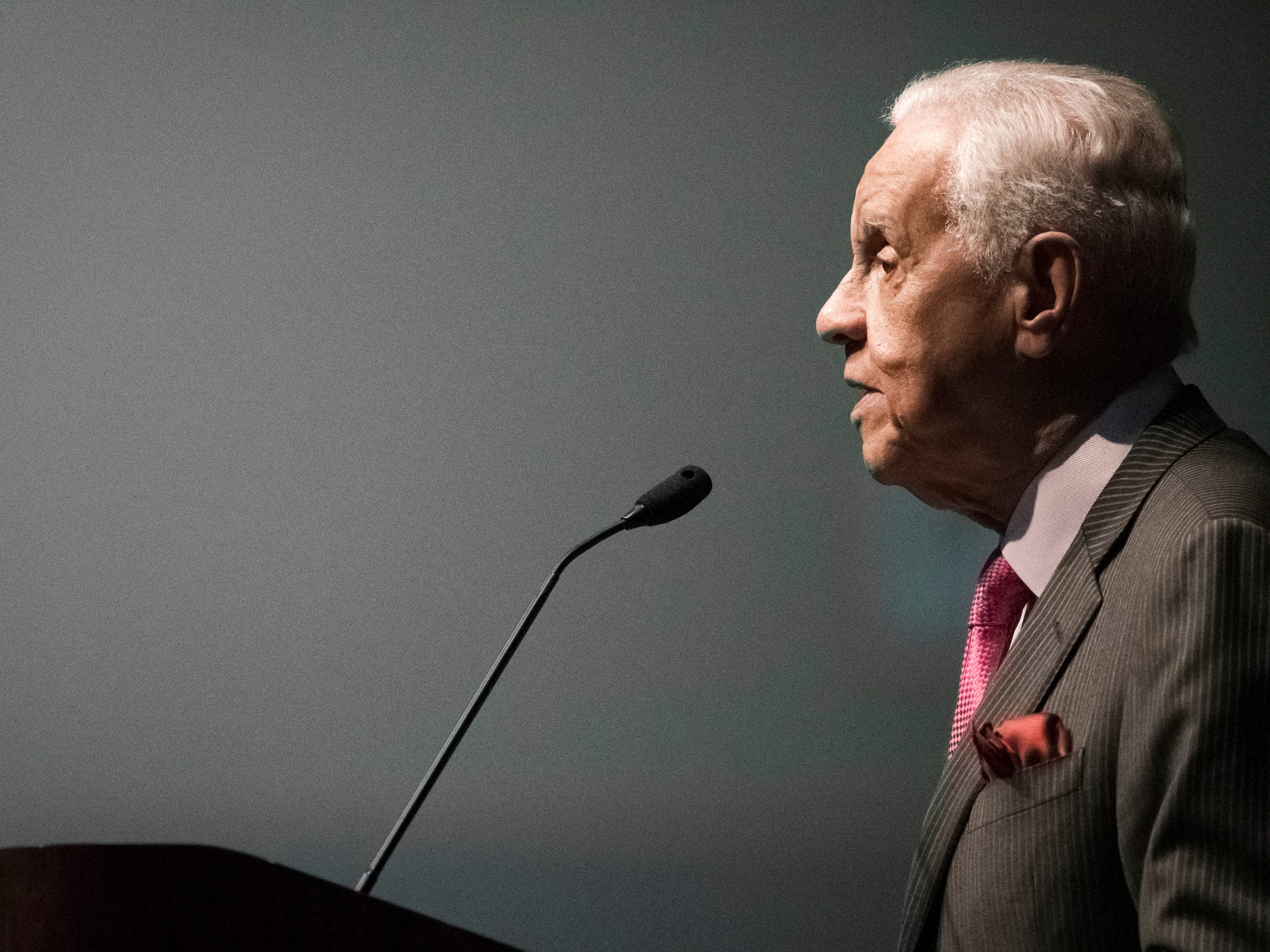 Former Virginia Governor L. Douglas Wilder speaks Monday, Jan. 21, 2019, during the 34th Annual MLK Holiday Luncheon Celebration at The Lansing Center in downtown Lansing, Michigan.  Wilder was the first elected African American Governor in the US (Virginia - 1990).  He first introduced a bill to have a holiday named for Martin Luther King, Jr..  It took eight years to pass.  Virginia was the first state to have a legislative holiday in Dr. King's honor.  [AP Photo/Matthew Dae Smith/Lansing State Journal]