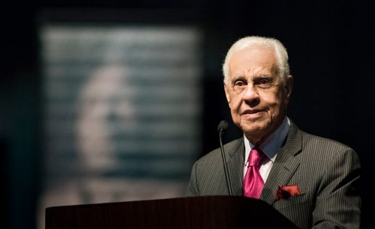 Former Virginia Governor L. Douglas Wilder speaks Monday, Jan. 21, 2019, during the 34th Annual MLK Holiday Luncheon Celebration at The Lansing Center in downtown Lansing.  Wilder was the first elected African American Governor in the US (Virginia - 1990).  He first introduced a bill to have a holiday named for Martin Luther King, Jr..  It took eight years to pass.  Virginia was the first state to have a legislative holiday in Dr. King's honor. [AP Photo/Matthew Dae Smith/Lansing State Journal]