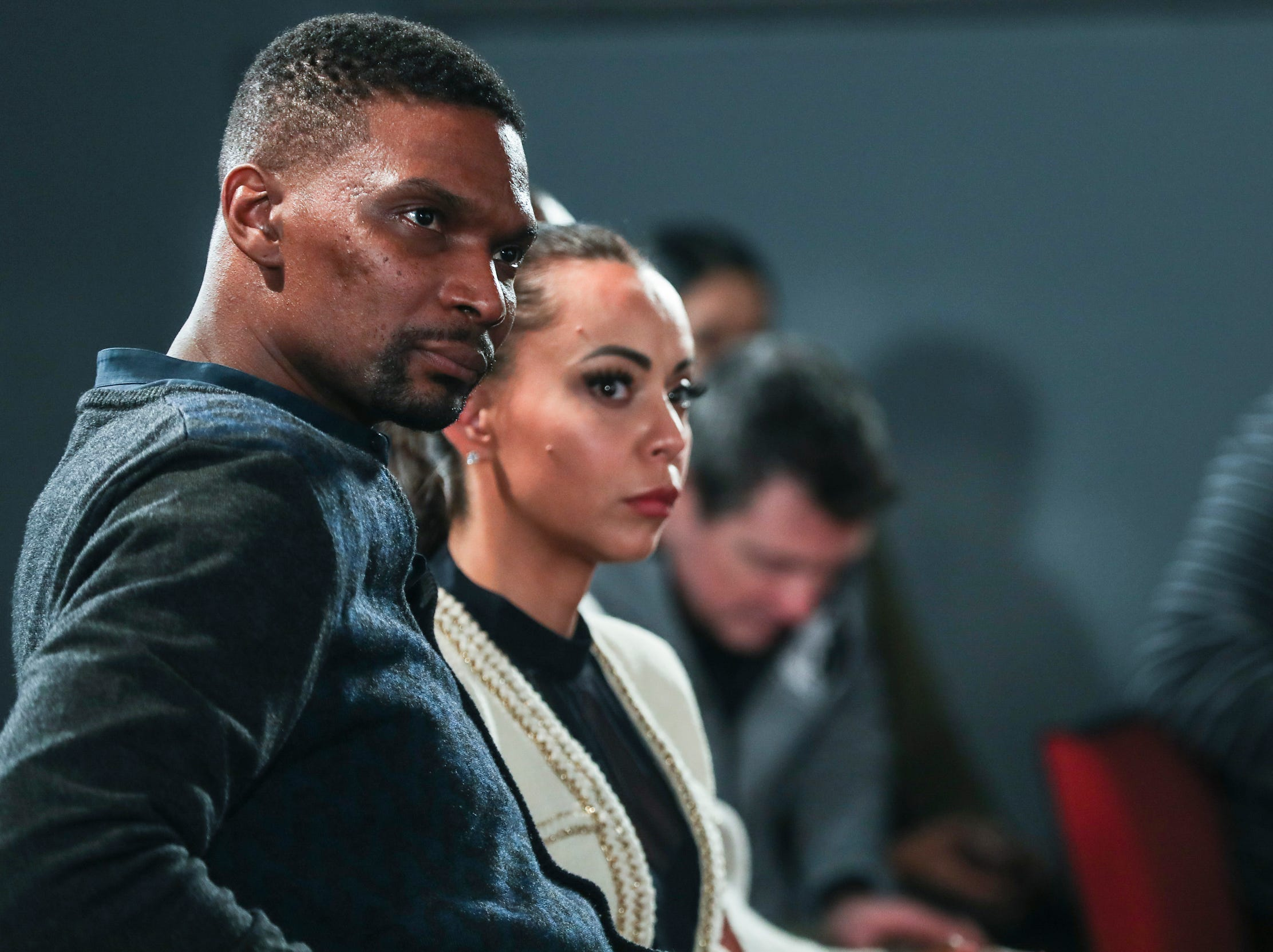 January 20 2019 - Two-time NBA Champion Chris Bosh watches the Intersection of Race & Sports panel discussion at the National Civil Rights Museum. Bosh was one of the National Civil Rights Museum Sports Legacy Award recipients.
