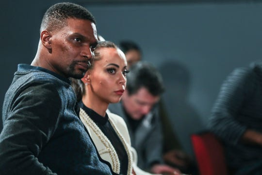 Two-time NBA Champion Chris Bosh watches the Intersection of Race & Sports panel discussion at the National Civil Rights Museum on Sunday. Bosh was one of the National Civil Rights Museum Sports Legacy Award recipients.