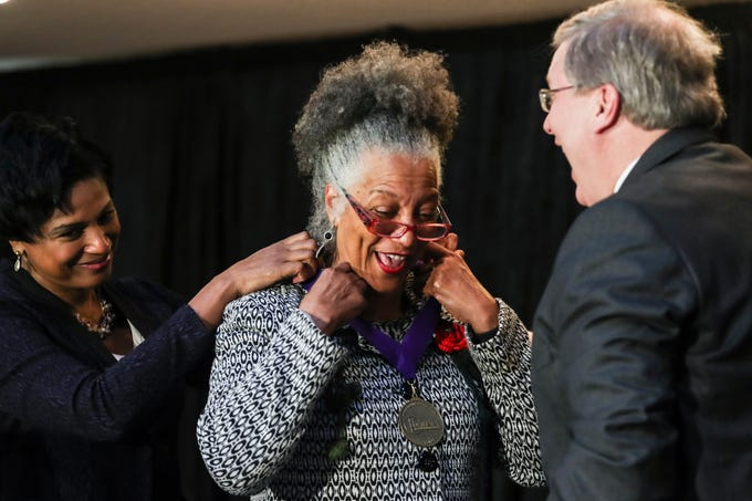 January 21 2019 - Regina Walker reacts while receiving her 2019 MLK Luminary Award during the 2019 MLK Luminary Awards at the Hall of Mayors in City Hall. Walker served as an executive and the senior vice-president of community engagement and alignment with United Way of the Mid-South for 29 years in Memphis.