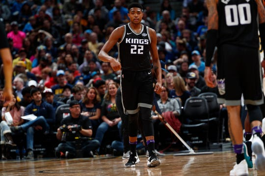Sacramento Kings forward Bruno Caboclo (22) in the second half of an NBA basketball game Sunday, March 11, 2018, in Denver. The Nuggets won 130-104. (AP Photo/David Zalubowski)